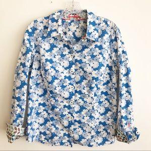 Boden Blue Floral Print Button Down 12